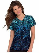 Landau Pintuck Crossover V-Neck Scrub Top, Style 4063. Moonscape Waters. *NEW*