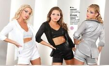 Marcea Silver White Black Sequin Dance Jazz Costume Jacket or Booty Shorts S M L