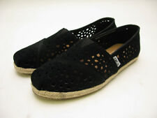 WOMENS TOMS CLASSIC CANVAS SLIP ON BLACK MOROCCAN SUEDE CUTOUT 10001341