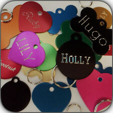 PET ID TAGS DOG CAT QUALITY ENGRAVED BOTH SIDES FREE SHIPPING HEART BONE CIRCLE