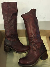 Brand new all leather DARK RED fashion womens ladies boots - closeout pricing!