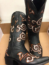 Brand new BLACK w/ fancy inlays womens ladies cowboy boots - closeout pricing!