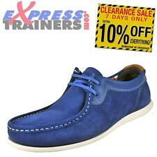 Base London Mens Catch Suede Leather Moccasin Casual Shoes Blue * AUTHENTIC *