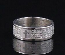 Spanish Bible Ring (LORD'S PRAYER) 8mm Wide ***Ships Fast From USA***