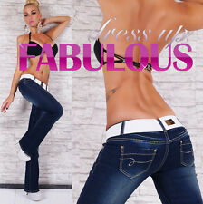 SEXY 6 8 10 12 14 WOMENS JEANS BOOTLEG STRETCH PANTS DENIM CASUAL CLUBBING BELT