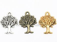 50pcs Metal Life of Tree Charms Pendants For Jewelry Making Silver/Gold/Bronze