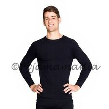 Mens Cotton Thermal Underwear Long Sleeve Top Black sizes S-XXL