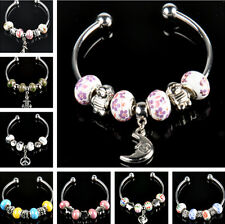 one new crystal porcelain silver plated European beaded charm bangle bracelet #2