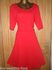 BNWT NEXT Bright Red Stretchy Skater Dress Size 12 14 16 18 20 Tall & Petite