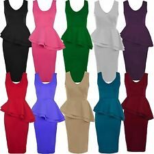 New Womens Double Peplum Frill Peplum Bodycon Midi Going Out Dress 8-26