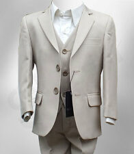 BOYS FORMAL 3 PC PAGE BOY WEDDING PROM SUIT IN BEIGE AGE 6 MTH TO 15 YRS