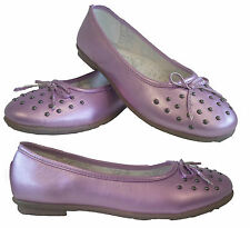 GIRLS KIDS LADIES BALLET DOLLY PUMPS FLAT STUDDED BALLERINA BOW CASUAL SHOE SIZE