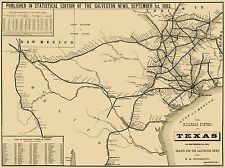 Old Railroad Map - Texas Railroad System - Hensoldt 1883 - 23 x 30.69