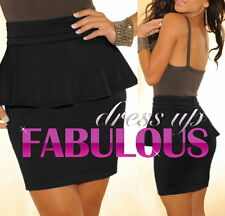 NEW SEXY 8-10 WOMEN'S PEPLUM MINI SKIRT PARTY CASUAL CLUBBING WEAR CLOTHING TOPS