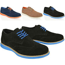 MENS BOYS BLACK REAL SUEDE CASUAL SMART BRIGHT SOLE LACE UP BROGUE SHOES SIZE