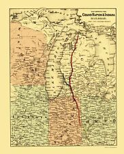 Old Railroad Map - Grand Rapids and Indiana Railroad - Colton 1871 - 23 x 28.35