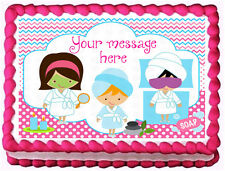 SPA PARTY Birthday Cake  Edible image cake topper decoration