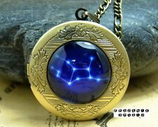 Galaxy Night Sky Constellations Taurus Virgo Brass Locket personal Necklace L