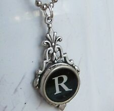 ~Typewriter Key Black Initial Pendant Necklace!~U Choose Letter~Serif Font~