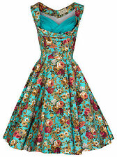 LINDY BOP 'OPHELIA' VINTAGE 1950's FLORAL SPRING GARDEN PARTY PICNIC DRESS