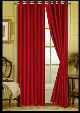 "FAUX SILK  Window Treatments Curtains Drape GROMMETS 63"" 84"" 108"" BRIGHT RED"