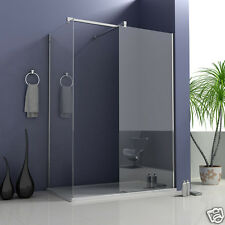 Walk in Wet Room Tall Shower Enclosure 8mm Glass Screen Side Panel Stone Tray V2