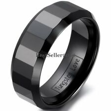 8mm Comfort Fit Polish Black Faceted Ceramic Ring Mens Engagement Wedding Band