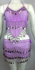 New Set Belly Dance Dancing Hip Skirt Scarf Hipscarf and Bra Silver 128 Coins