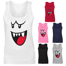 Womens Boo Face Ghost Mario Vest Tank Top NEW UK 8-18
