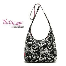 Thirty One Inside Out Bag Black Floral Brushstrokes/Hot Pink /Lotsa Dots