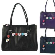 NEW Ladies LEATHER Large Work BAG by MALA Lucy Collection Heart Shoulder Handbag