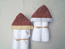 NWT Maroon Dot Infant Hooded Bath Towel-Orange, White, Gray, Gold Trim Options