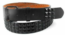 BLACK METAL STUDS BLACK LEATHER BELT with REMOVABLE BUCKLE - SIZE S M L XL