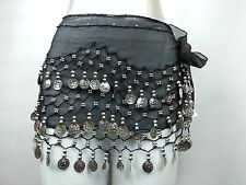 New Belly Dance Dancing Hip Skirt Scarf Hipscarf Silver 128 Coin Waist Costume