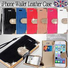 iPHONE BLING CRYSTAL DIAMOND WALLET CARD LEATHER FLIP STAND CASE COVER + STRAP