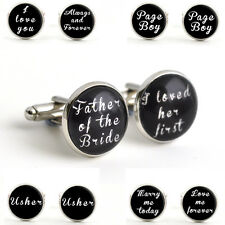 Silver Wedding Cufflinks - Personalised Gifts for Men - Black Suit Accessories