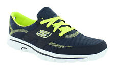SKECHERS Go Walk 2 'Stance' Ladies Navy/Lime Lace Up Walking Trainers.