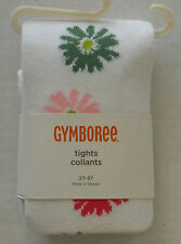 Gymboree Girl's Daisy Delightful White Flower Tights Size 12-24 Months