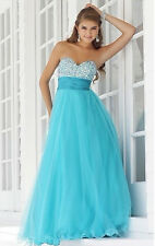 2014 New Blue Wedding Dress Long Prom Party Ball Formal Bridesmaid Evening Plus