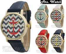Ladies Geneva Gold Trim Chevron Anchor Design Leather Watch Free Shipping