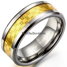 8mm Gold Tone Grooved Comfort Fit Tungsten Carbide Ring Engagement Wedding Band