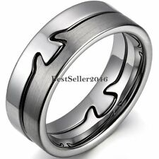 8mm Matte & Shiny Polish Puzzle Comfort Fit Tungsten Carbide Ring Wedding Band