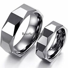 High Polished Faceted Cobalt Free Tungsten Carbide Ring Comfort Fit Wedding Band