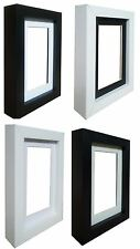 Black or White Wooden Picture Photo Box Frames with Mounts