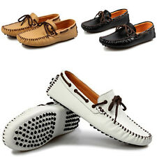 Men's Casual Soft Cowhide Leather Slip On Loafers Moccasins Driving Shoes
