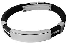 Men's ID Bracelet rubber & stainless steel engraved personalised + gift pouch YE