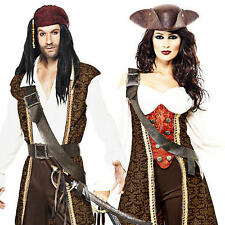 Deluxe Caribbean Pirate Adults Fancy Dress Buccaneer Mens Ladies Costumes Outfit