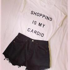 SHOPPING IS MY CARDIO T-SHIRT TOP FASHION CARA TUMBLR SWAG LADIES AND MENS SIZES
