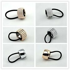 Fashion Punk Rock Metal Circle Ring Hair Cuff Wrap Ponytail Holder Band