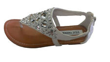 STEVE MADDEN Big Girls Sandals White  Siver Gems Jewels BLING (NAYLA) NEW